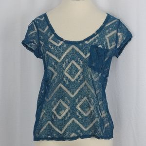 Kimchi Blue lace top blue (size small)